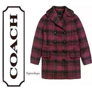 Coach Plaid Cranberry Long Wool Pea Coat